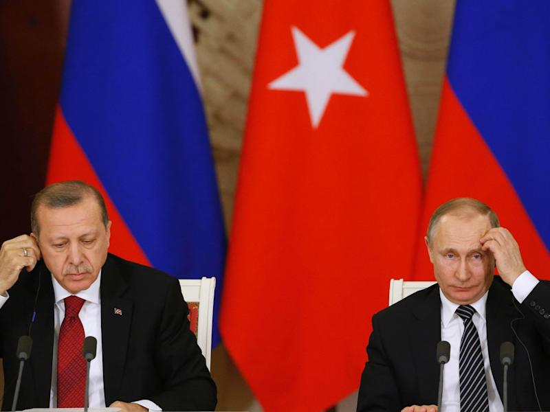 Relations between the countries have been tumultuous, with ties becoming strained in 2015 after the Turkish military shot down a Russian warplane: Getty