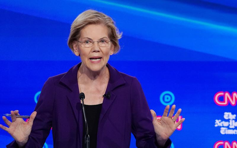 Democratic presidential candidate Senator Elizabeth Warren speaks during the fourth U.S. Democratic presidential candidates 2020 election debate at Otterbein University in Westerville, Ohio U.S., October 15, 2019. REUTERS/Shannon Stapleton