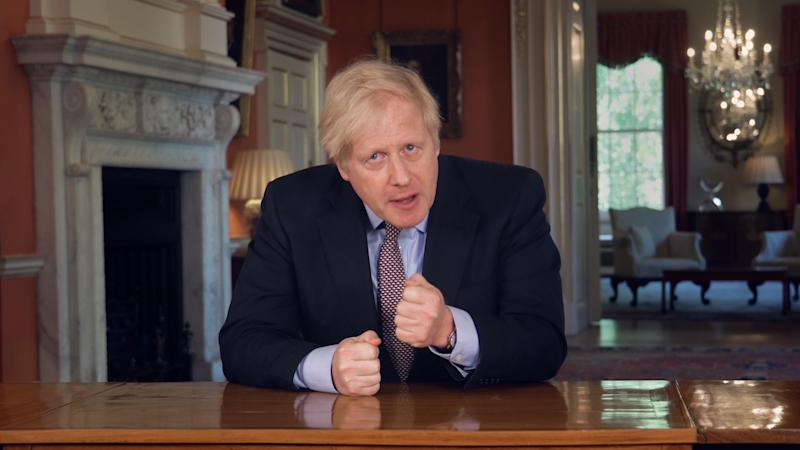 Screen grab of Prime Minister Boris Johnson addressing the nation about coronavirus (COVID-19) from 10 Downing Street in London.