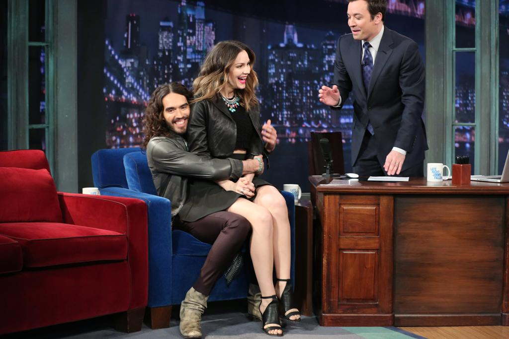 LATE NIGHT WITH JIMMY FALLON -- Episode 775 -- Pictured: (l-r) Actor Russell Brand and Actress Katharine McPhee with host Jimmy Fallon during an interview on February 4, 2013 -- (Photo by: Lloyd Bishop/NBC/NBCU Photo Bank)
