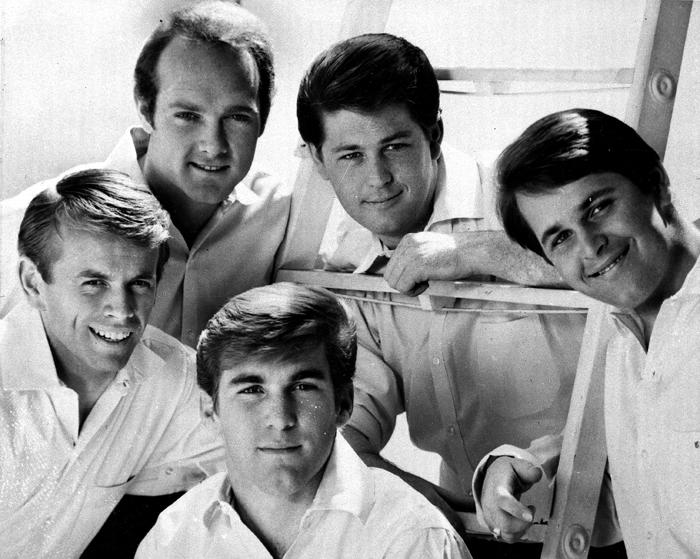 The Beach Boys are shown in this 1966 photo. The group includes three brothers, a cousin and an honorary relative. Left to right top: Mike Love, Brian Wilson and Carl Wilson. Bottom, Al Jardine and Dennis Wilson. (AP Photo)