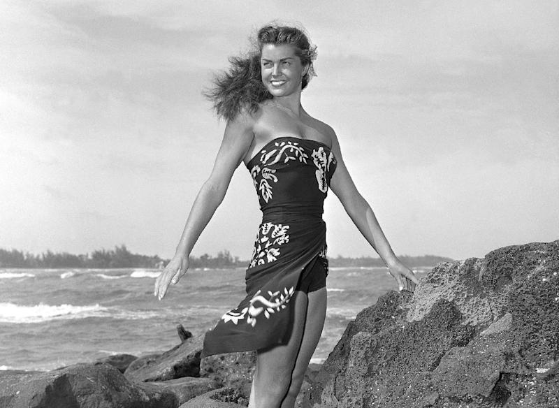 "FILE - This May 1950 file publicity photo originally released by Metro-Goldwyn-Mayer shows Esther Williams on location for the film ""Pagan Love Song. According to a press representative, Williams died in her sleep on Thursday, June 6, 2013, in Beverly Hills, Calif. She was 91. (AP Photo/Metro-Goldwyn-Mayer, file)"