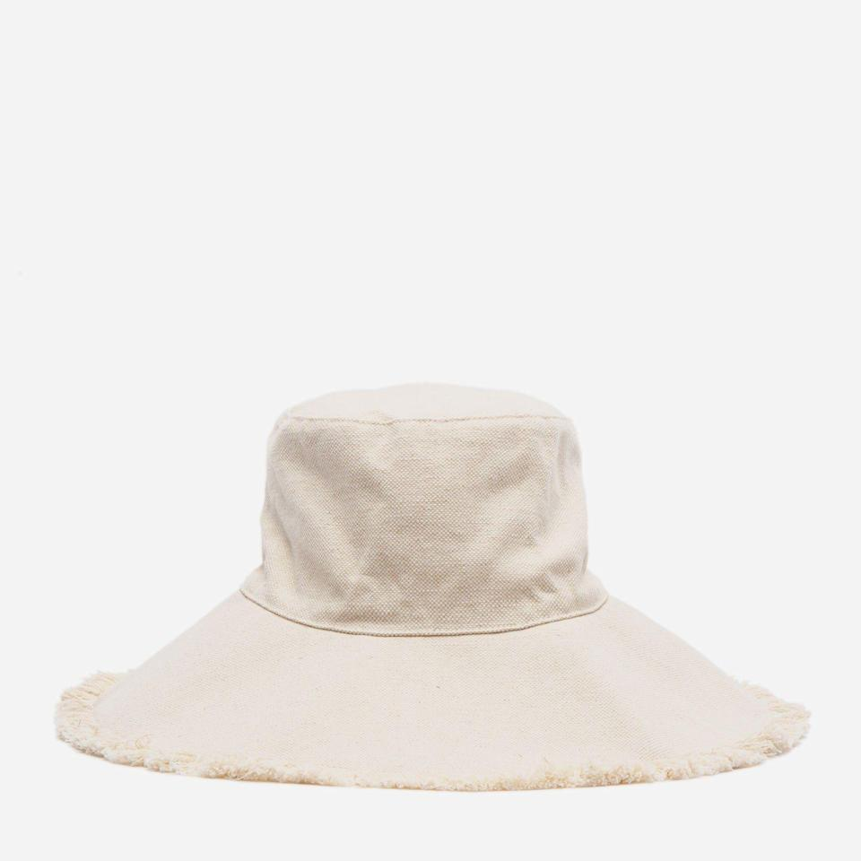 """<p><strong>Frances Valentine </strong></p><p><strong>$68.00</strong></p><p><a href=""""https://francesvalentine.com/collections/hats/products/canvas-fringe-hat-natural"""" rel=""""nofollow noopener"""" target=""""_blank"""" data-ylk=""""slk:Shop Now"""" class=""""link rapid-noclick-resp"""">Shop Now</a></p><p>Made from cotton canvas, this floppy-brim hat will shield and protect her face from the sun—from the beach to her garden. </p>"""