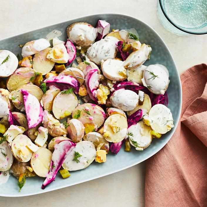 <p>This beet and potato salad, tossed with a combo of sour cream, vinegar and sweet pickles, is slightly sweet and tangy. To make prep go faster, you can skip roasting the beets yourself and use prepackaged cooked beets instead.</p>