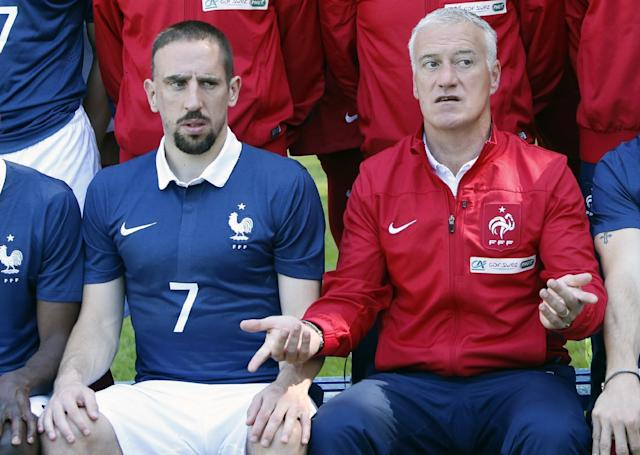 France's forward Franck Ribery, left, and head coach Didier Deschamps pose for the team picture at the French national football team's training base, in Clairefontaine, outside Paris, Friday, June 6, 2014 as part of France's national football team's preparation for the upcoming FIFA 2014 World Cup in Brazil. (AP Photo/Francois Mori)