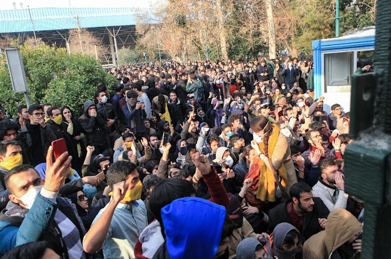Iranian students protest at the University of Tehran during a demonstration driven by anger over economic problems, in the capital Tehran on December 30, 2017