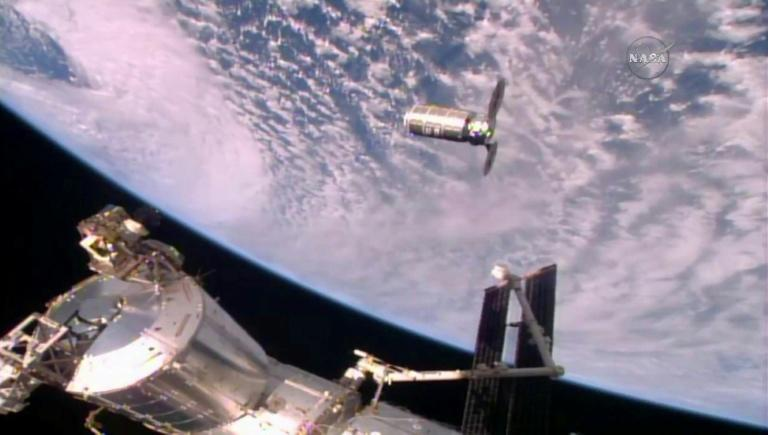 The Cygnus resupply ship slowly approaches the International Space Station in October 2016