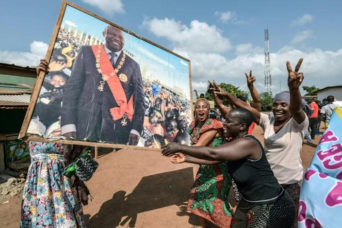 Support for Gbagbo remains strong despite his long absence. Above: Celebrations in his home town of Gagnoa after his acquittal by the International Criminal Court in January 2019