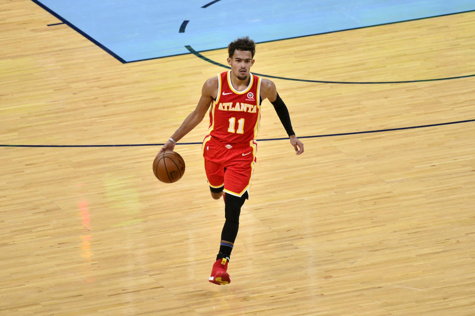 亞特蘭大老鷹後衛Trae Young。(AP Photo/Brandon Dill)