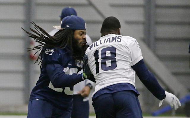 Richard Sherman, shown participating in a January practice. (AP)