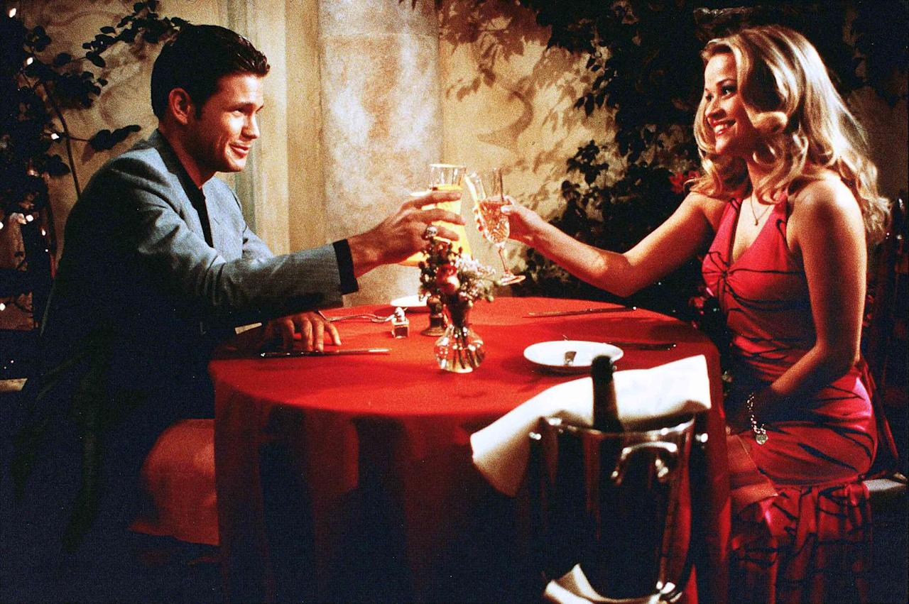 """<p>Elle Woods (Reese Witherspoon) is all dressed up for her date with Warner (Matthew Davis) because she thinks he's going to propose before he goes off to Harvard Law School. The dinner goes off the rails when Warner suggests they end things because he needs to """"marry a Jackie, not a Marilyn,"""" implying she isn't intellectual enough. (Though joke's on him when Elle also gets into Harvard.) The low-cut halter neck dress is just one of the <em>many</em> pink ones Elle wears in the film-call it her power woman color, because she definitely uses this moment to propel herself forward.<em></em></p>"""