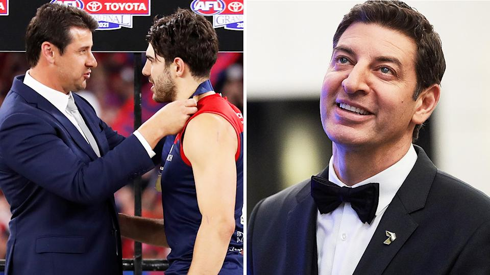 Andrew Embley, who presented Christian Petracca with the Norm Smith medal after the AFL grand final, took a cheeky shot at Basil Zempilas' hosting performance. Pictures: Getty Images