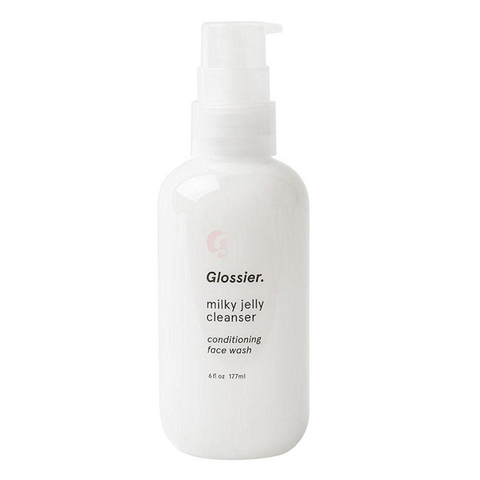 """<p>Glossier's Milky Jelly Cleanser washes the day away as good as any all-star cleanser, but there's something about the <a href=""""https://www.allure.com/review/glossier-milky-jelly-cleanser?mbid=synd_yahoo_rss"""" rel=""""nofollow noopener"""" target=""""_blank"""" data-ylk=""""slk:bouncy jelly consistency"""" class=""""link rapid-noclick-resp"""">bouncy jelly consistency</a>, just-sweet-enough rosewater scent, and clean — yet supremely hydrated — result that will make you actually look forward to washing your face.</p> <p><strong>$18</strong> (<a href=""""https://glossier.79ic8e.net/q95Eb"""" rel=""""nofollow noopener"""" target=""""_blank"""" data-ylk=""""slk:Shop Now"""" class=""""link rapid-noclick-resp"""">Shop Now</a>)</p>"""