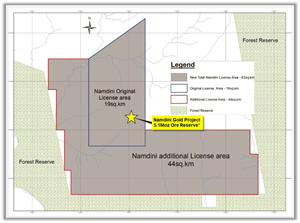 Figure 2: Location of 63 km2 Namdini Project Mining Lease