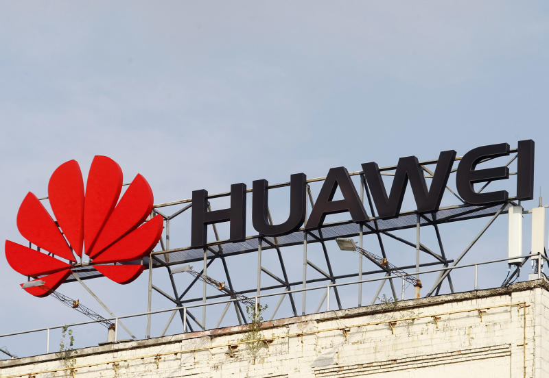 Huawei logo is seen on a building...