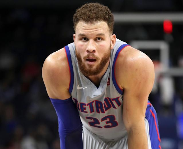 "<a class=""link rapid-noclick-resp"" href=""/nba/players/4561/"" data-ylk=""slk:Blake Griffin"">Blake Griffin</a> got into an argument with a fan, who got tossed from Wednesday's Pistons-Timberwolves game. (Getty)"
