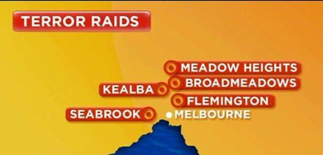 The five Melbourne suburbs where dawn raids have been carried out.