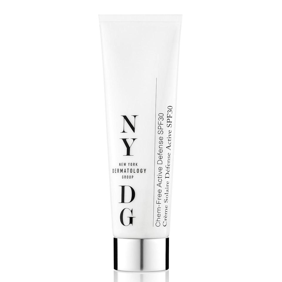 """<p>Formulated by New York City-based dermatologist David Colbert, NYDG's Chem-Free Active Defense SPF 30 is made for sensitive skin and contains antioxidants to protect you from the bad stuff (i.e. environmental pollutants) in the air.</p> <p><strong>$98</strong> (<a href=""""https://shop-links.co/1629514116511084934"""" rel=""""nofollow noopener"""" target=""""_blank"""" data-ylk=""""slk:Shop Now"""" class=""""link rapid-noclick-resp"""">Shop Now</a>)</p>"""