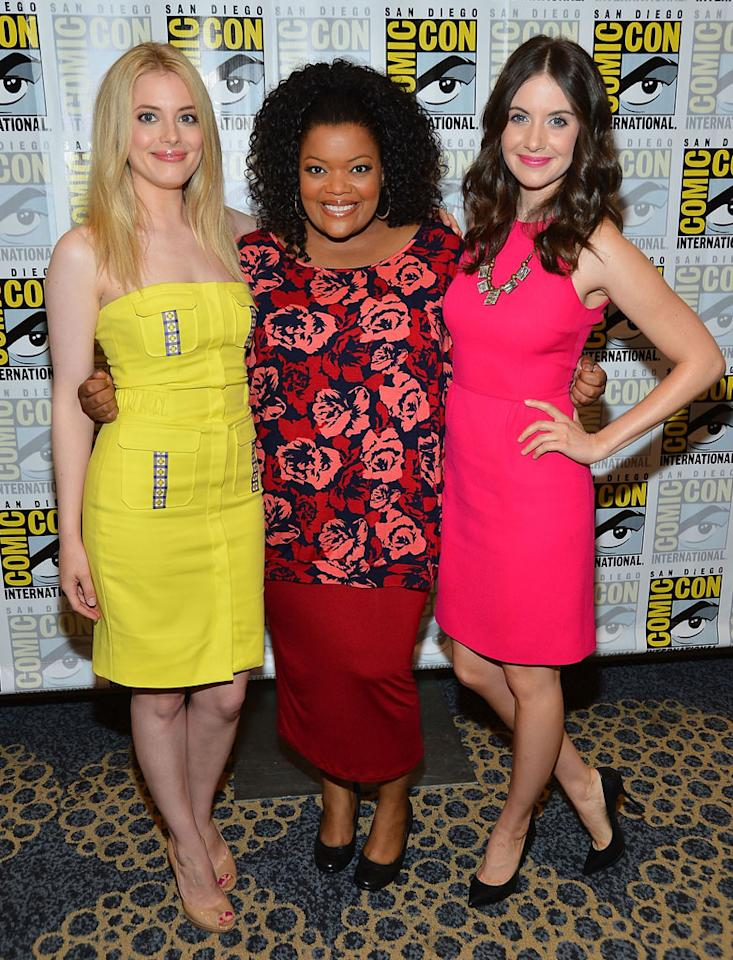 "Actresses Gillian Jacobs, Yvette Nicole Brown and Allison Brie attend the ""Community"" Press Room during Comic-Con International 2012 held at the Hilton San Diego Bayfront Hotel on July 13, 2012 in San Diego, California."