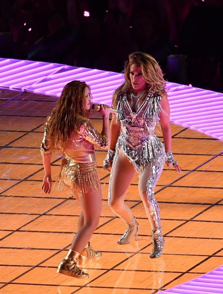 Jennifer Lopez and Shakira performing at the halftime of Super Bowl LIV.