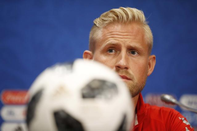Soccer Football - World Cup - Denmark News Conference - Luzhniki Stadium, Moscow, Russia - June 25, 2018 Denmark's Kasper Schmeichel during news conference REUTERS/Carl Recine