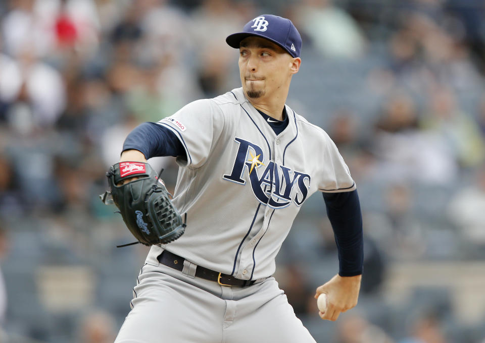 NEW YORK, NEW YORK - JUNE 19:   Blake Snell #4 of the Tampa Bay Rays in action against the New York Yankees at Yankee Stadium on June 19, 2019 in New York City. The Yankees defeated the Rays 12-1.  (Photo by Jim McIsaac/Getty Images)