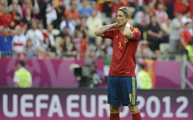 Spanish forward Fernando Torres reacts during the Euro 2012 championships football match Spain vs Italy on June 10, 2012 at the Gdansk Arena.  AFP PHOTO / PIERRE-PHILIPPE MARCOUPIERRE-PHILIPPE MARCOU/AFP/GettyImages