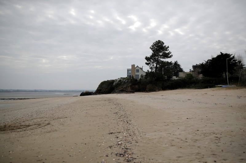 A view shows a beach in Saint-Jacut-de-la-Mer in Brittany