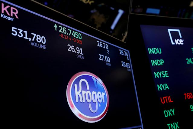 A logo of Kroger is displayed on a monitor above the floor of the New York Stock Exchange shortly after the opening bell in New York, U.S., December 5, 2017. REUTERS/Lucas Jackson