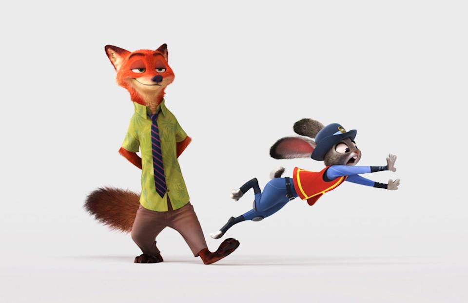 <p><strong>For Judy:</strong> Gray bunny ears, a bunny tail, and a blue cop uniform.<br> <strong>For Nick:</strong> A pair of orange fox ears and a bushy tail, a green button-down, khakis, and a striped tie.</p>