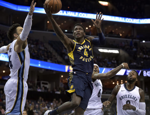 "<a class=""link rapid-noclick-resp"" href=""/nba/players/5153/"" data-ylk=""slk:Victor Oladipo"">Victor Oladipo</a> is getting it done for the Pacers. (AP)"
