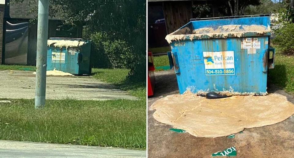 A skip bin full of Domino's pizza dough is pictured. Some has leaked onto the ground.