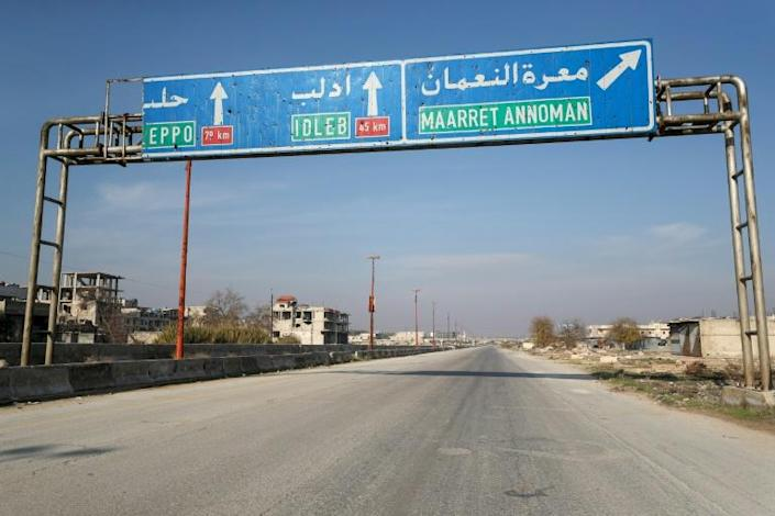 Maaret al-Numan lies on the M5 highway linking the capital to Syria's second city and once industrial heart of Aleppo (AFP Photo/Omar HAJ KADOUR)