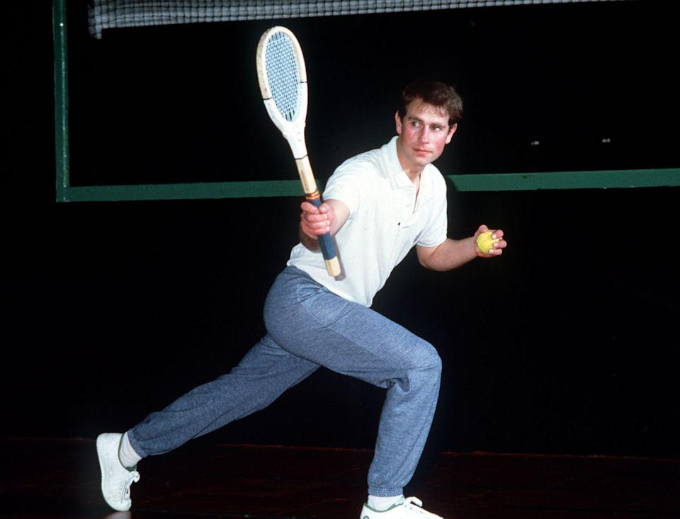 <p>Carrying on the family tradition, Prince Edward takes a swing at a tennis court in London. <br></p>