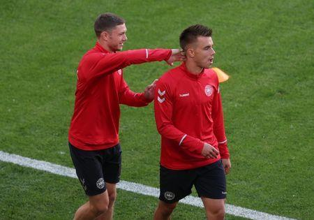 Soccer Football - World Cup - Denmark Training - Mordovia Arena, Saransk, Russia - June 15, 2018 Denmark's Jonas Knudsen and Henrik Dalsgaard during training REUTERS/Ricardo Moraes