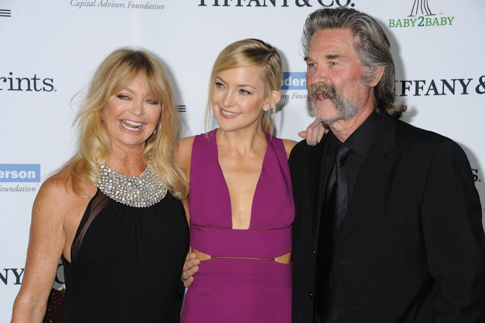 L-R: Goldie Hawn, Kate Hudson, Kurt Russell arrives to the 2014 Baby2Baby Gala sponsored by Tiffany, honoring Kate Hudson, held at The Book Bindery in Culver City, California, Saturday, November 8, 2014. (Photo by Jennifer Graylock/Sipa USA)