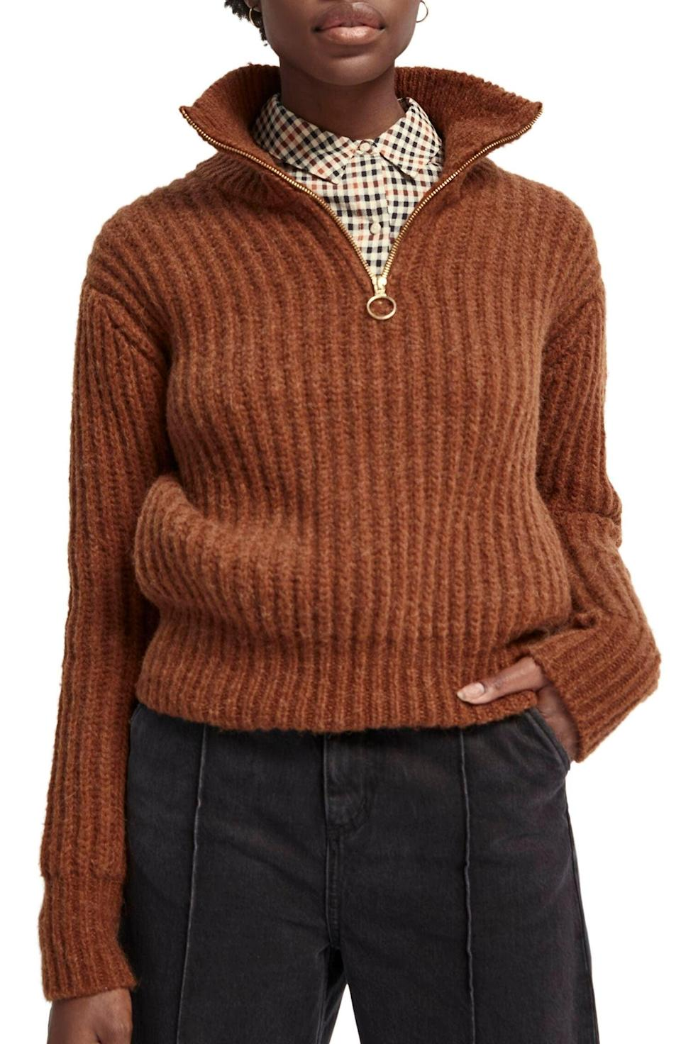<p>Look cool and stay warm in this <span>Scotch & Soda Ribbed Half Zip Sweater</span> ($225).</p>