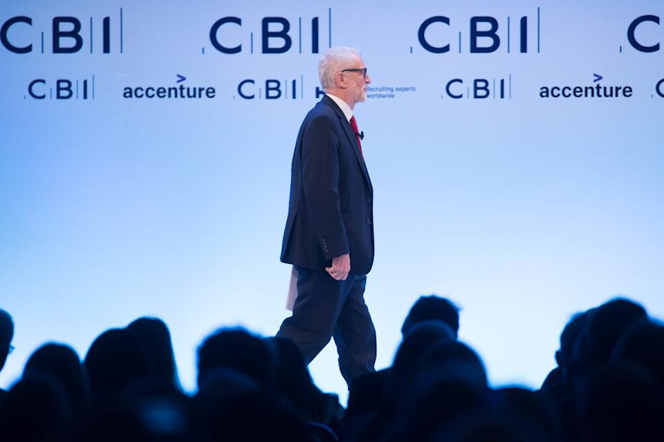 Labour leader, Jeremy Corbyn speaking at the CBI annual conference at the InterContinental Hotel in London. PA Photo. Picture date: Monday November 18, 2019. See PA story POLITICS Election. Photo credit should read: Stefan Rousseau/PA Wire