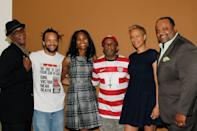 """NEW YORK, NY - JUNE 21: Thomas Jefferson Byrd, Savion Glover, Nicole Friday, Spike Lee, Tonya Lewis Lee and Roland Martin attend the """"Spike Lee...Ya Dig!"""" career retrospective and celebration during the 2014 American Black Film Festival at Metropolitan Pavilion on June 21, 2014 in New York City. (Photo by Mireya Acierto/Getty Images)"""