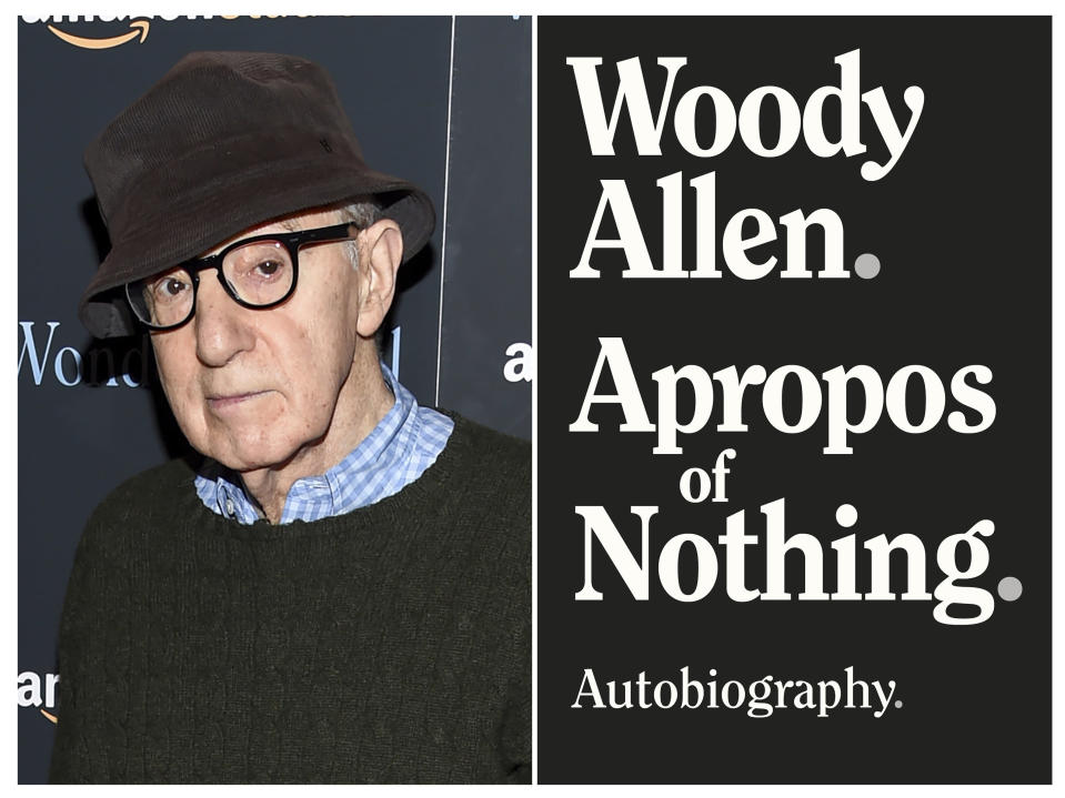 """This combination photo shows director Woody Allen at a special screening of """"Wonder Wheel"""" in New York on Nov. 14, 2017, left, and a cover image for """"Apropos of Nothing,"""" Allen's autobiography. Allen's memoir has been released with a new publisher. It was dropped last month after widespread criticism. But it came out Monday by Arcade Publishing with little advance notice. (AP Photo, left, Arcade Publishing via AP)"""