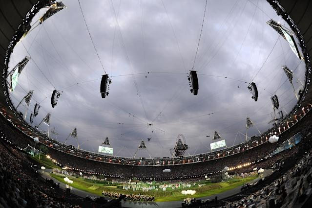 LONDON, ENGLAND - JULY 27: A general view of the stadium is seen during the Opening Ceremony of the London 2012 Olympic Games at the Olympic Stadium on July 27, 2012 in London, England. (Photo by Pascal Le Segretain/Getty Images)