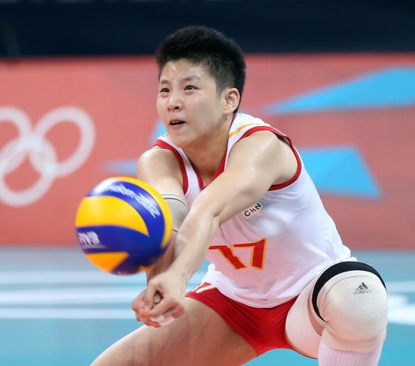 LONDON, ENGLAND - AUGUST 05:  Lei Zhang #17 of China passes the ball in the first set against Korea during Women's Volleyball on Day 9 of the London 2012 Olympic Games at Earls Court on August 5, 2012 in London, England.  (Photo by Elsa/Getty Images)
