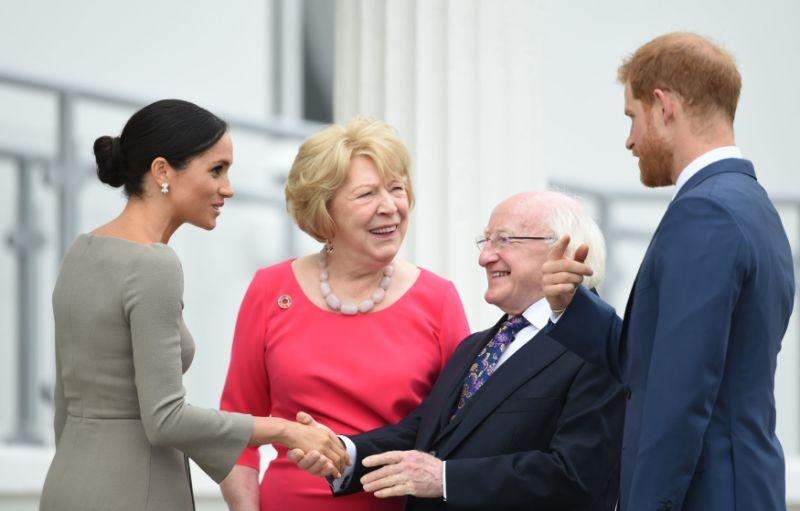 The Duke and Duchess meet President Michael Higgins and his wife. [Photo: PA]