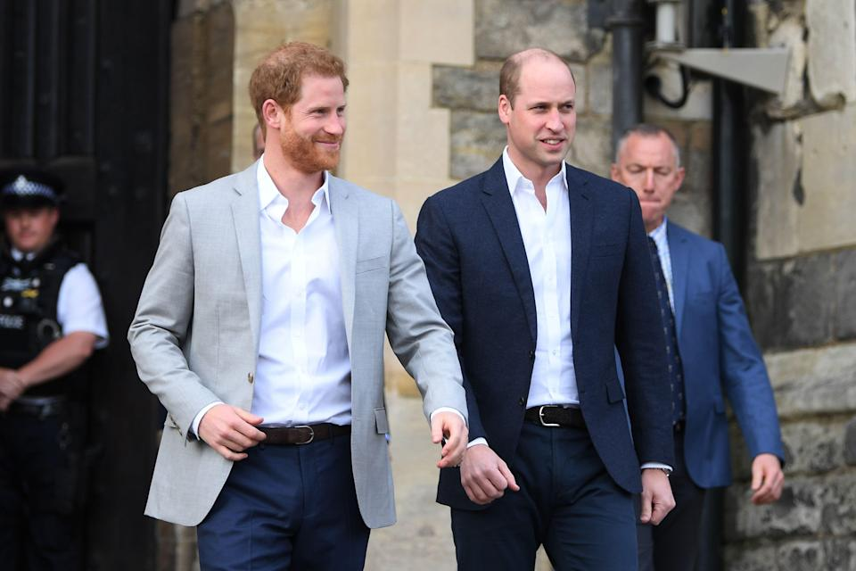 Harry and William pictured on the day of the royal wedding in May 2018 [Photo: Getty]