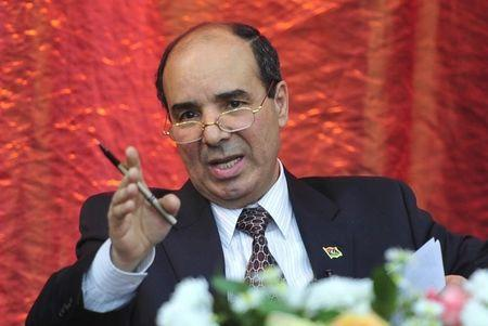 """Ibrahim Dabbashi gestures as he delivers a seminar titled """"Transitional Justice"""", in Benghazi"""