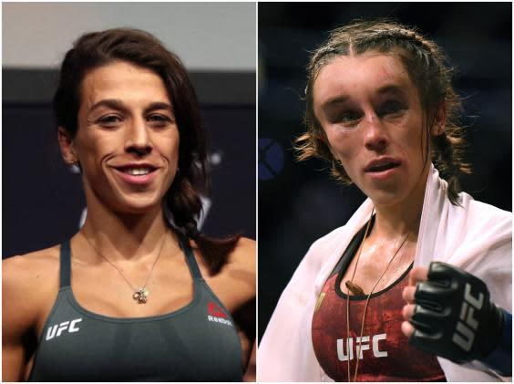 Joanna Jedrzejczyk before the fight ... and after (Getty)