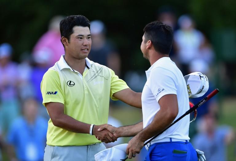 Japan's Hideki Matsuyama (L) and Australian Jason Day will join Tiger Woods and Rory McIlroy in next month's Skins Game in Japan (AFP Photo/STUART FRANKLIN)