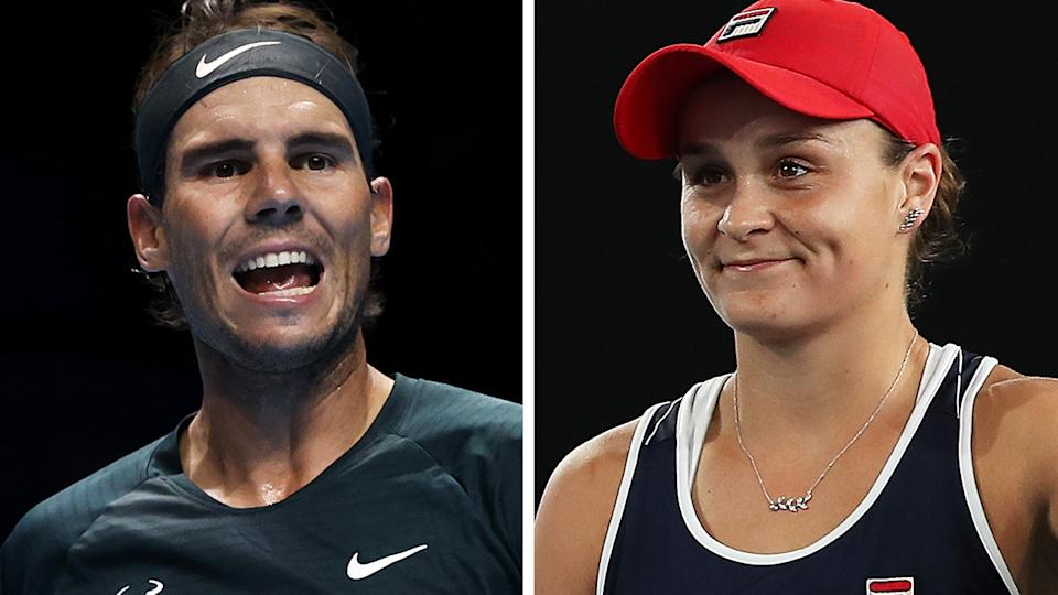 Rafael Nadal and Ash Barty could be among several top players to feature in an exhibition tournament in Adelaide, after the South Australian government agreed to provide relief for packed quarantine arrangements in Melbourne ahead of the Australian Open. Pictures: Getty Images