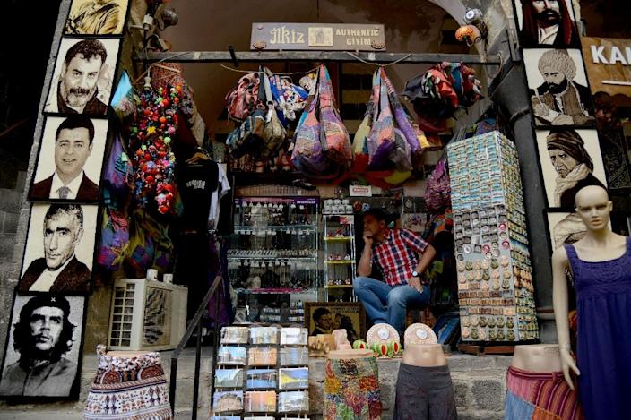 A shop sits empty on October 1, 2015, at the Hasan Pasa caravansary in Diyarbakir, where consumer and investor skittishness has contributed to a regional unemployment rate of 30 percent (AFP Photo/Ilyas Akengin)