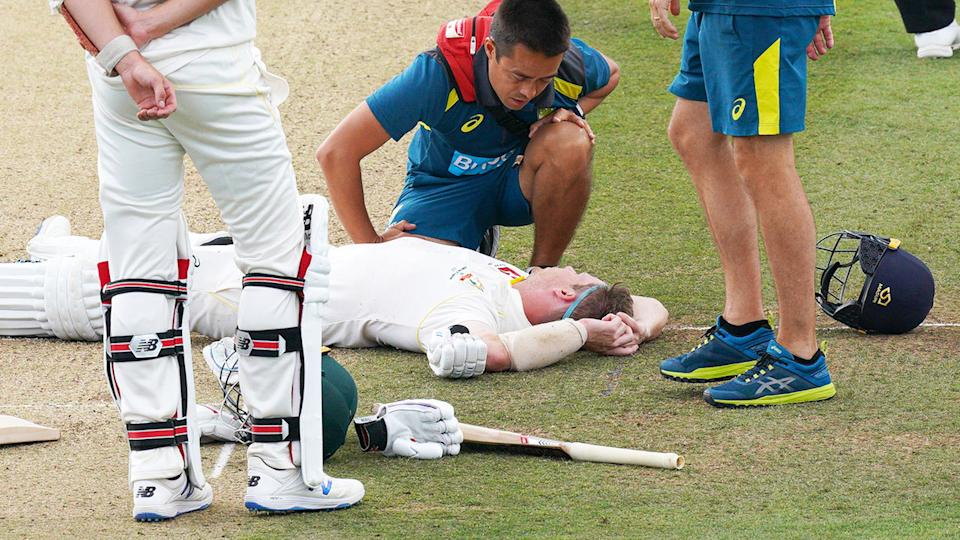 Steve Smith was on the ground for a number of minutes. (Photo by Jed Leicester/Getty Images)